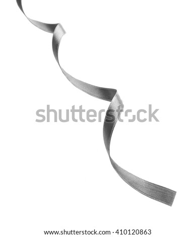 Silver silk curly ribbon isolated on white background - stock photo