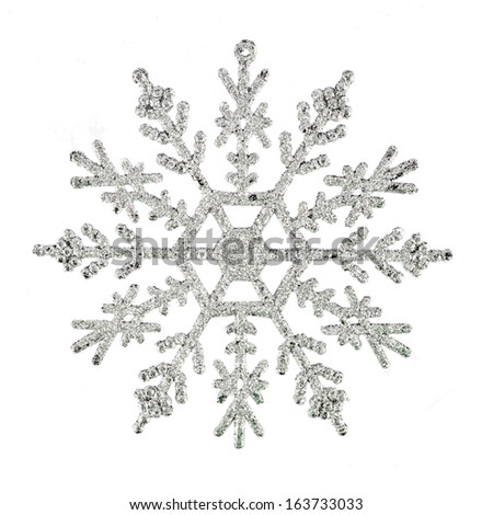 Silver snowflake, - christmas toy,  isolated  - stock photo