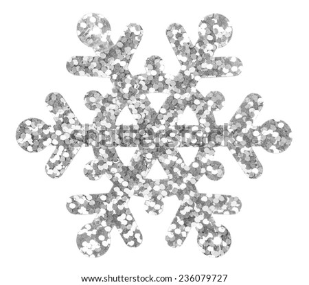 Silver snowflake isolated on the white - stock photo