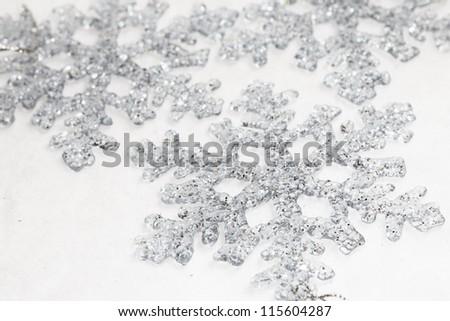 Silver Snowflakes - stock photo