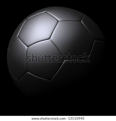 Silver Soccer ball isolated on black background. - stock photo