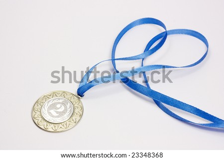 Silver sport medal - stock photo