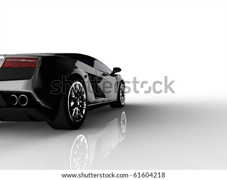 Silver sports car - cropped shot isotlated on - stock photo
