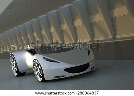 Silver sports car driving in tunnel, 3D render - stock photo