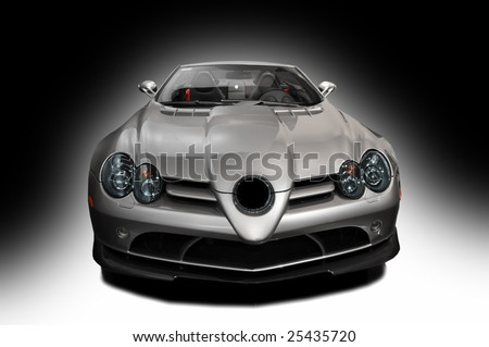 silver sports car on a black background - stock photo