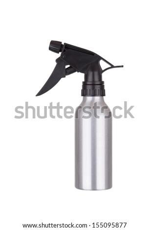 Silver spray bottle isolated on white background - stock photo