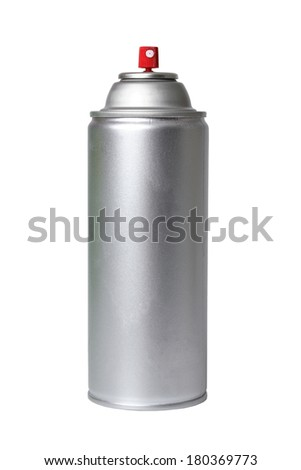 Silver spray can on white background - stock photo