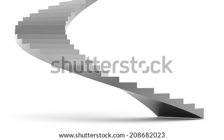 Silver stairs concept rendered on white background - stock photo