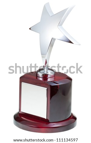 silver star award isolated on the white background - stock photo