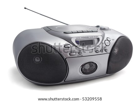 Silver stereo  CD radio cassette recorder isolated on white - stock photo