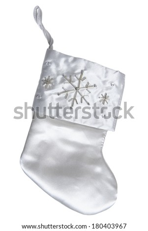 Silver stocking with snowflake decoration on white background  - stock photo