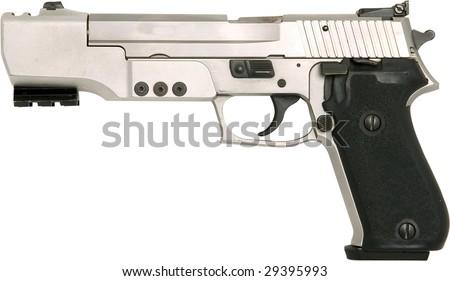 silver 45 style handgun isolated on white - stock photo