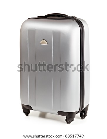 Silver suitcase for travel isolated on white - stock photo