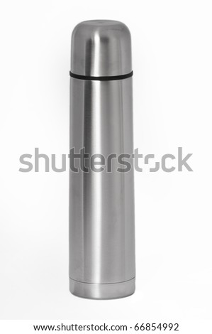 Silver thermos with it's cap attached on a seamless white background - stock photo
