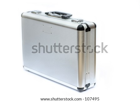 Silver toned metal briefcase, isolated - stock photo