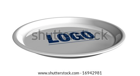 silver tray service on white background - stock photo