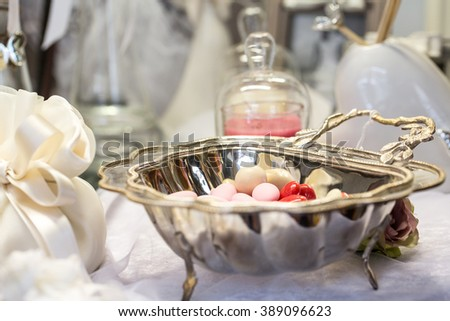 silver tray with comfits - stock photo