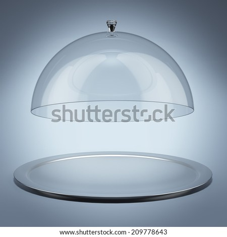 Silver tray with glass cover - stock photo