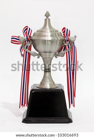 Silver trophy cup on stand isolated on a white background with clipping path. Plain reflection - stock photo