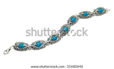 silver turquoise bracelet isolated on white - stock photo