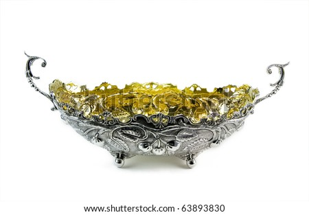 Silver vase for sweets - stock photo