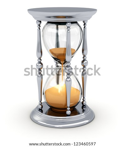 Silver vintage hourglass or sandglass isolated on white background - stock photo
