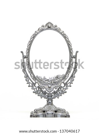 Silver Vintage Mirror isolated on white background - stock photo