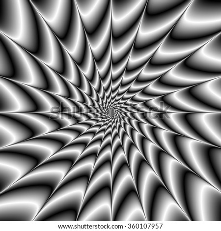 Silver Vortex / A digital abstract fractal image with a monochrome spiral design in black and white. - stock photo