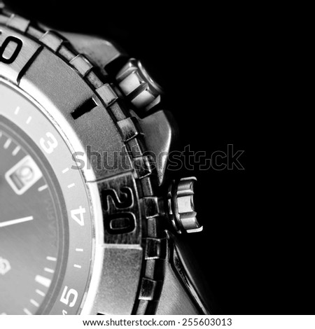 Silver watch on black background  - stock photo
