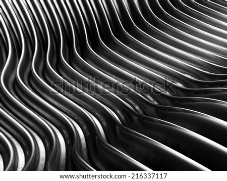 Silver wave curve metal background 3d illustration - stock photo