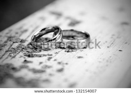 silver wedding rings - stock photo