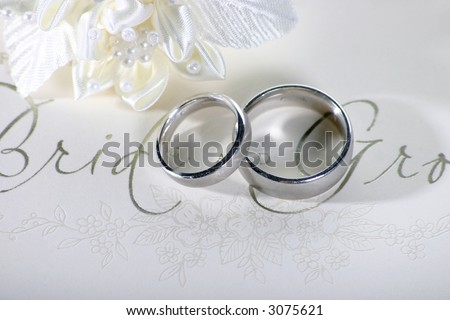 Silver wedding rings on a card saying Bride and Groom - stock photo