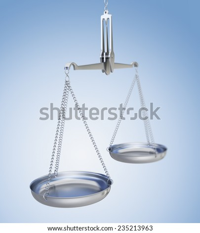 Silver weighing scale. Symbol of justice or fair trade. - stock photo