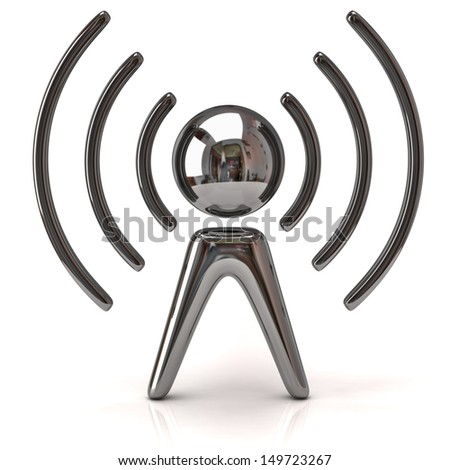 Silver wireless icon - stock photo