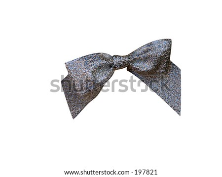 silver wrapping bow - stock photo