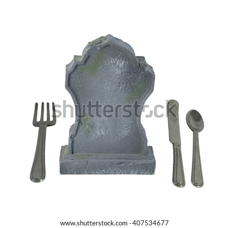 Silverware and Headstone to show the danger of eating certain things or eating disorders - path included - stock photo