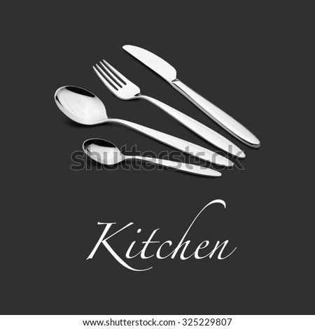 Silverware Set with Fork, Knife, and Spoons for Kitchen - stock photo