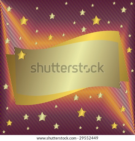 Silvery  frame with stars - stock photo
