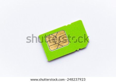sim card for cellphone on white background - stock photo