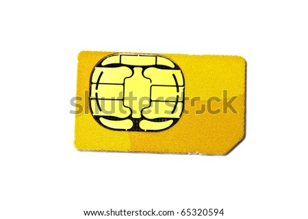 Sim card for mobile phone isolated on white background - stock photo