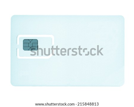 Sim card for mobile phone or smartphone or tablet computer - cool cyanotype - stock photo