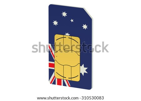 SIM card with flag of Australia isolated on white background - stock photo