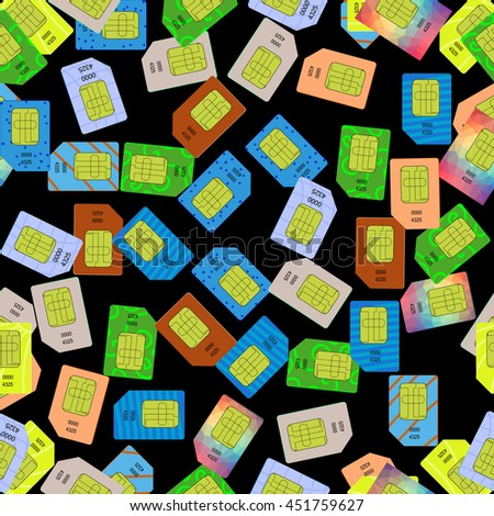 SIM Cards Seamless Pattern on Black Background. - stock photo