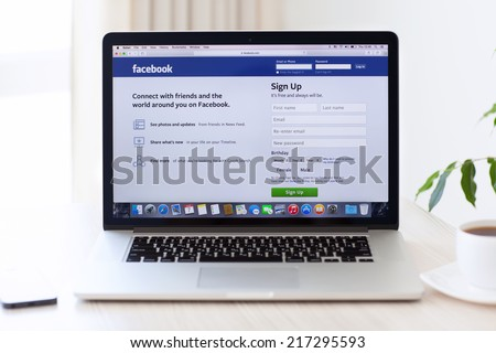 Simferopol, Russia - August 7, 2014: Facebook the largest social network in the world. It was founded in 2004 by Mark Zuckerberg and his roommates during training at the Harvard University. - stock photo