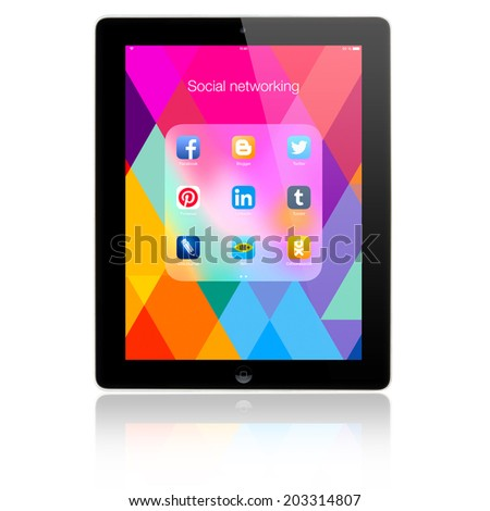 SIMFEROPOL, RUSSIA - JULY 05, 2014: Social networking applications on a black Apple iPad Air display, which is designed by Apple Inc. Apple iPad Air official released of November 1, 2013. - stock photo