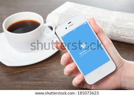 Simferopol, Russia - March 30, 2014: Twitter service of microblogging is created in 2006. Twitter service for a public exchange of short messages from 140 symbols. - stock photo