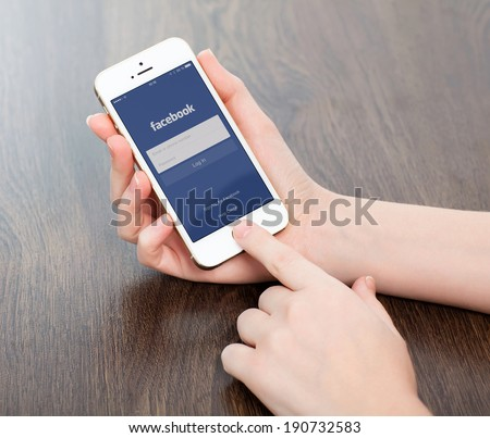 Simferopol, Russia - May 4, 2014: Facebook the largest social network in the world. It was founded in 2004 by Mark Zuckerberg and his roommates during training at the Harvard University. - stock photo