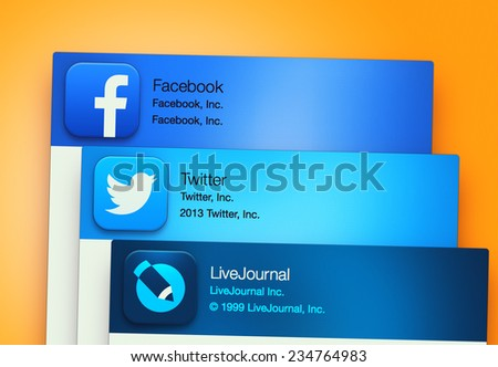 SIMFEROPOL, RUSSIA - NOVEMBER 30, 2014: Popular social networking applications on an Apple macbook display. Include: facebook, LiveJournal, Twitter - stock photo