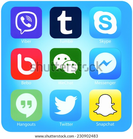 SIMFEROPOL, RUSSIA - NOVEMBER 04, 2014: Set of popular social networking applications on iPhone display, printed on paper. Include Twitter, Skype, Viber, Tumblr and other. - stock photo