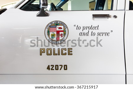 SIMI VALLEY, CA/USA - JANUARY 23, 2016: Los Angeles police department squad car logo and emblem. - stock photo